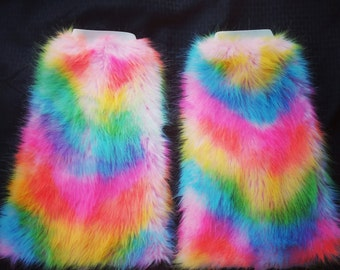 Pink Rainbow Furry Fluffies Legwarmers Go-Go Bootcovers | Gifts Under 30 | Gifts for Her | Gifts for Him | Gifts for Kids