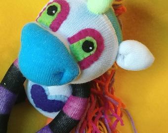 """Dariyah - 14"""" Sock Unicorn Plush - Handmade Plush Doll"""