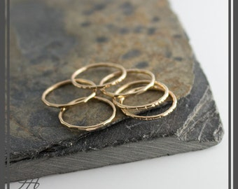 Tiny Gold Band Stackable Ring, Hammered Ring, Gold Ring, Band Ring, Staking Gold Ring, Dainty Stacking Ring, Stackable Ring, Dainty