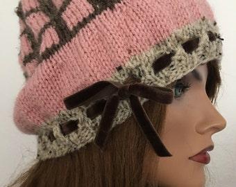 Hand Knits 2 Love Beanie Cap Hat Slouch Dedigner Fashion Chic Winter Snow Ski Female Velvet Ribbon Gift Birthday