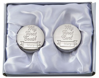 Engraved First Curl, First tooth Box Set for Baby, Round Shape, Free Engraving, Personalized