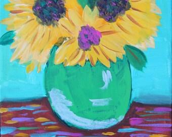 Sunflowers in Green Vase