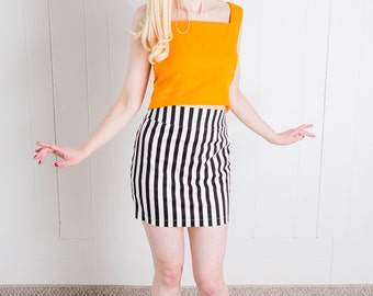 Sixties Inspired Black & White Mini Skirt! XS, XL - 1960s