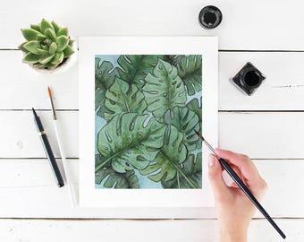 "8"" x 10"" Green Monstera Leaves Tropical Fine Art Paper Giclee Print"