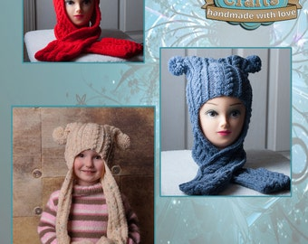 Babies/Childs Cable Hood Scarf with pockets