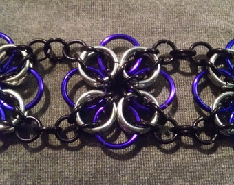 Purple Grey and Black Flower Chainmail Bracelet