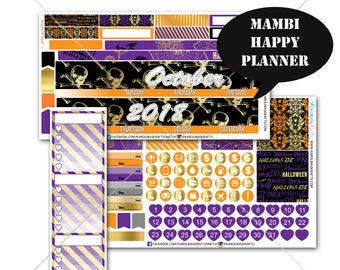 Gold Halloween MONTHLY Planner Kit  / Happy Planner Stickers / Mambi Stickers / Monthly Sticker Kit #SQ00576-MHP