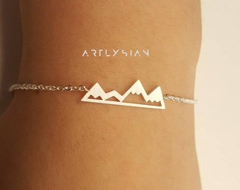 Mountain bracelet Charm bracelet Bridesmaid bracelet mountain jewelry Dainty bracelet rock climbing best friend gift bridesmaid gift for her
