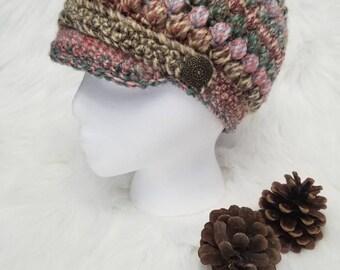 Crocheted puff stitch newsboy cap