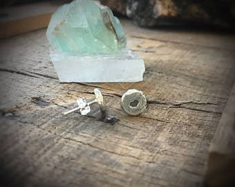 Heart earrings ~ Sterling silver tiny little post pierced studs are rustic and thick Valentine's gift  jewelry