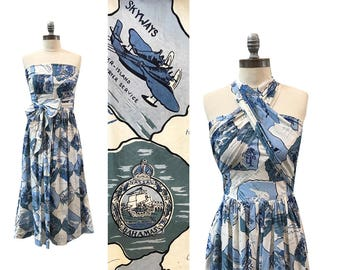 1950s Convertible Novelty Bahamas Print Sundress