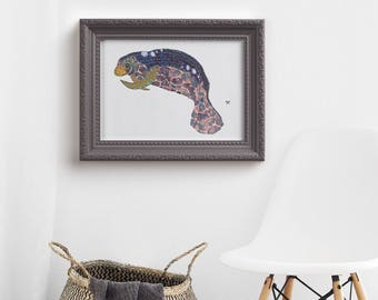 Manatee Print Giclee Print Manatee Art Sea Cow Illustration Wall Décor