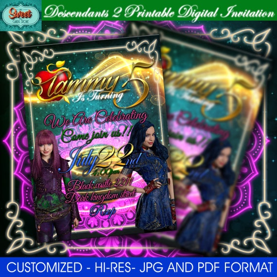 Disney Descendants Printable Invitations