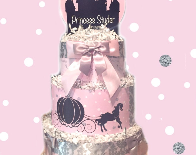 Featured listing image: Pink and Silver Baby Princess Diaper Cake