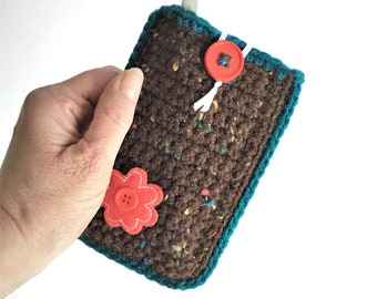 Small 3x5 Notepad Cover in Brown and Teal and Red, Small List Pad Case, Travel Notepad Sleeve, Notepad and Pen Included, Soft Notepad Case