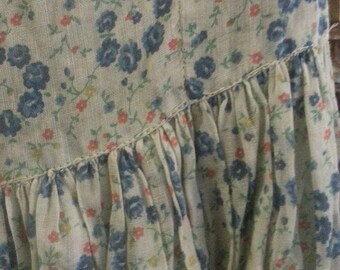 Cute vintage girl's/woman's summer dress, blue floral fabric, puffed sleeves, ankle length, tie back belt, so cute!!