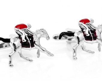 3D Enamel Race Horse and Jockey Cufflinks Cuff Links Animal