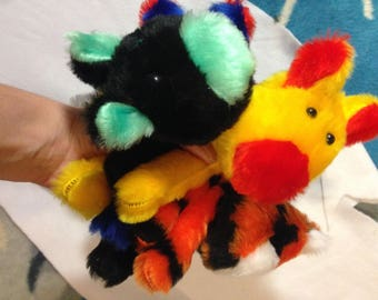 Cats, colored animal cats, fantasy cats, animal toy, plush animal
