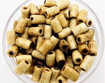 Bone beads; antiqued bone tube bead, 6x7.5mm, 16 pcs/3.50