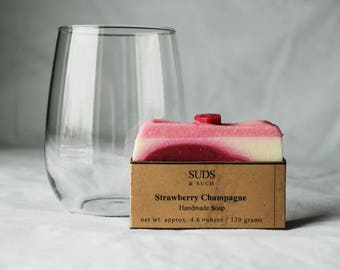 Strawberry Champagne Valentine Handmade (Cold Process) Soap - hand made