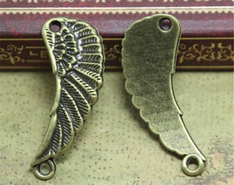 20pcs Wing charms bronze tone Angels Wings Feathers Charm Pendants connector 29x10mm ASD0750