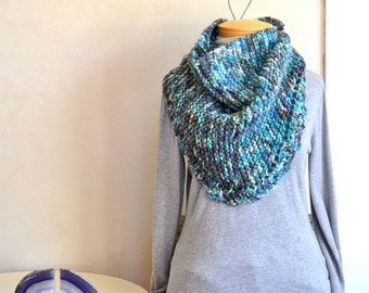 Hand Knit Shawl Hand Dyed Yarn Multicolor Blues / Scarf Alpaca Peruvian Wool Blend Eco Dyed