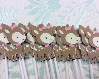 12 Adorable Girl Fawn Cupcake toppers
