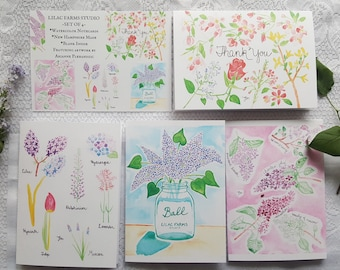 Watercolor Cards 'Lilac Collection' - set of 4 cards