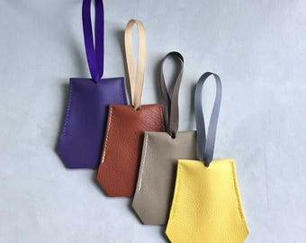 Oversize Leather Clochette for House and Car Keys - Purple/Neutral/Yellow Family