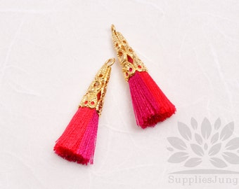 T003-01-MRP// Gold Plated Cone Multi Red, Pink 34mm Tassel Pendant, 4pcs