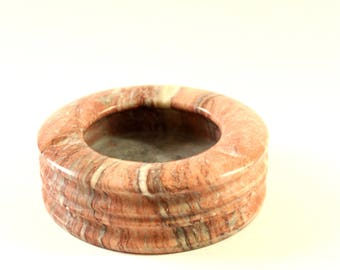 vintage pink marble ashtray . round ashtray, 1970s home decor . natural stone ashtray