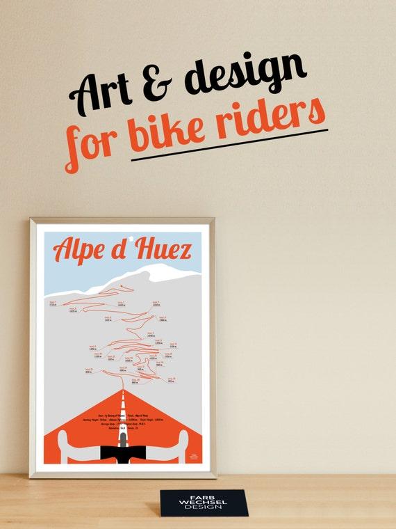 Tour de France print Alpe d Huez bike poster A4 Present for