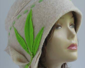 Womens hat Wool Cloche Hat Felted Hat White Flapper hat fall autumn winter Hats Wearable art Gift for her White beanie Wool cloche beanie.