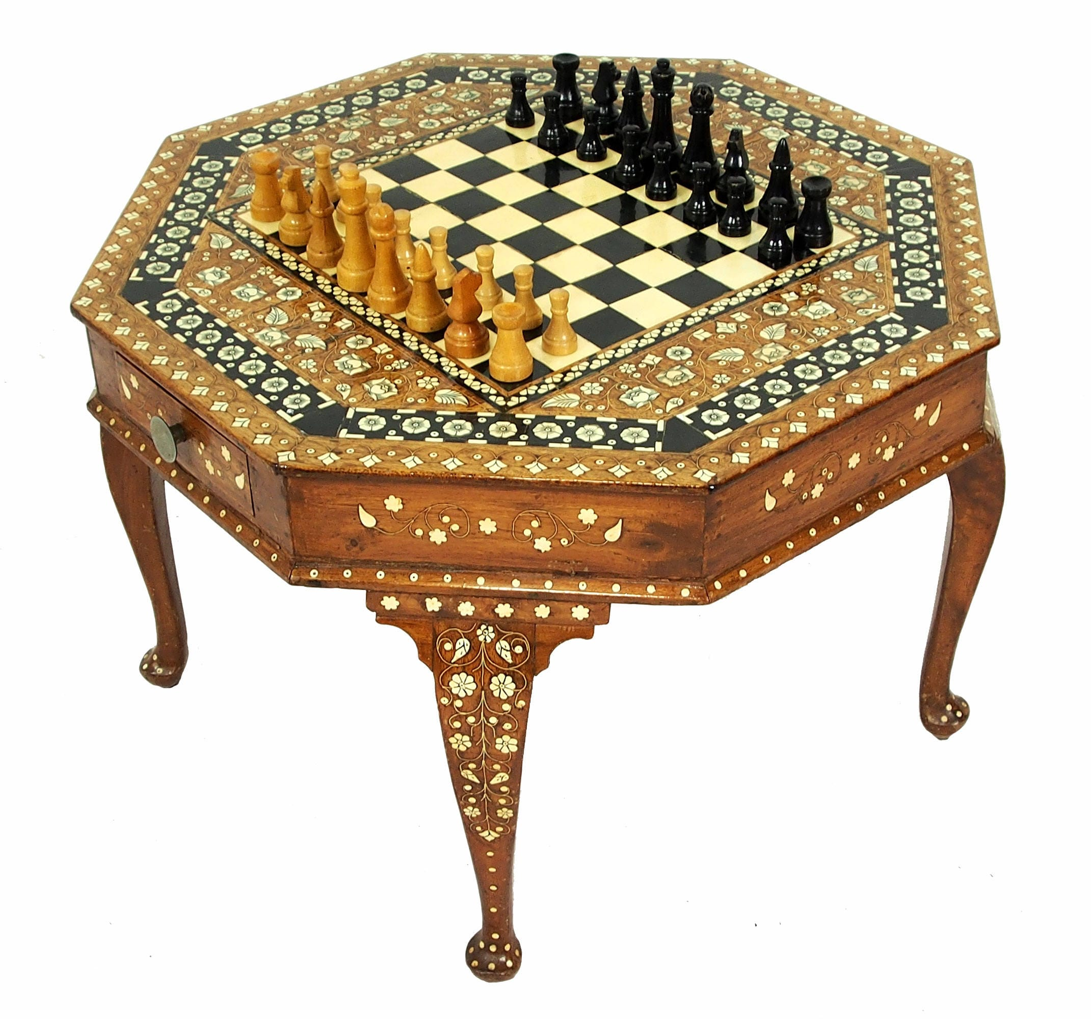 Gorgeous Antique Anglo Indian Vintage Bone Inlay Table chess