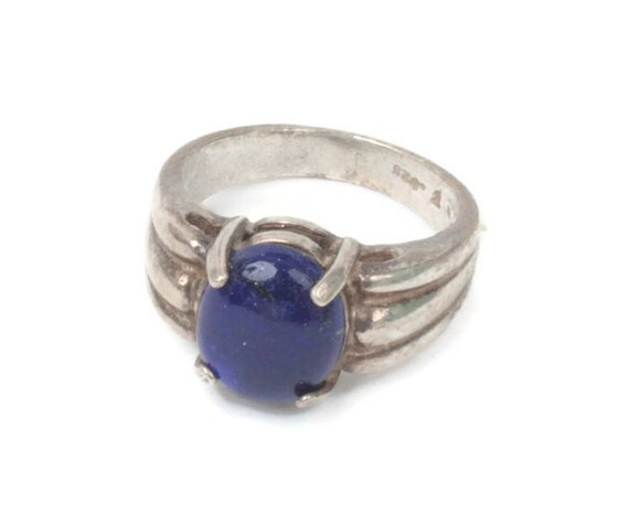Simulated Lapis Cabochon Sterling Modernist Ring Ribbed Shoulders Size 7