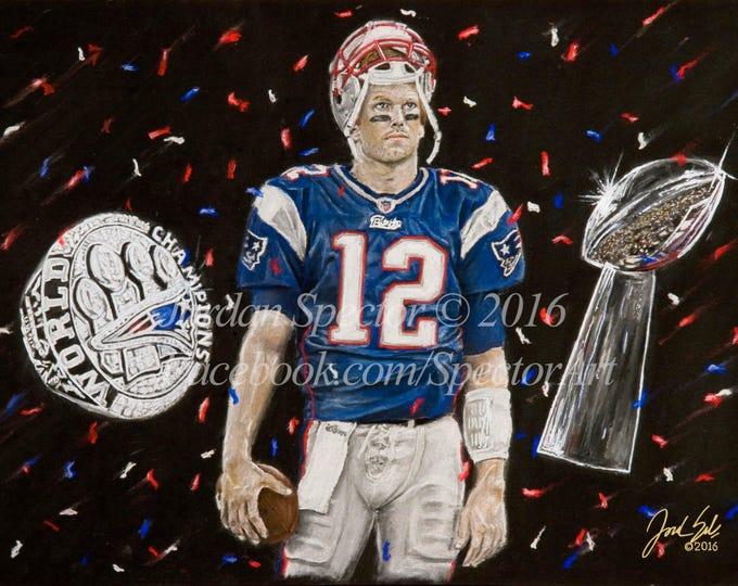 """Tom Brady """"5 Rings"""" Limited Edition art print - 20x24 inches"""