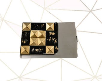 Studded Large Money Clip Wallet Inlaid in Hand Painted Black Enamel with Gold Splash Geometric Inspired with Personalized and Color Options