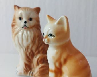 Ginger Orange Cat Figurines Pair Bone China Vintage Persian Tabby Taiwan - 3 to 3.5 Inches