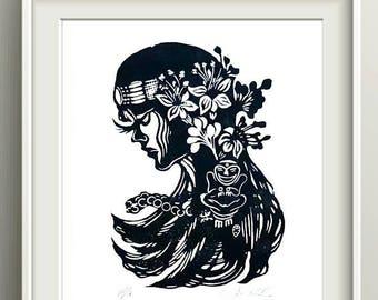 Taino Puerto Rico Art Print Linogravure, Taino Art Puerto Rico Wall Art Linocut Print, Puerto Rican Artist Lino Print, Linoprint