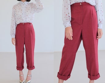 Wide Legs Red Plaid Pants, Vintage 80s High waisted pants , 1980s Elegant Pants, Suit Gingham Pants, Brown Checkered Hipster Pants M/L waist