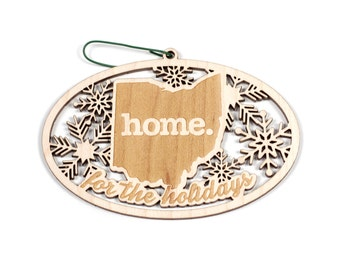 Engraved Ohio Wood Christmas Ornament