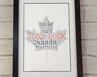 Personalised word art Canada emigrating gift - good luck - goodbye - farewell - bon voyage print - world map - gift for traveller - globe