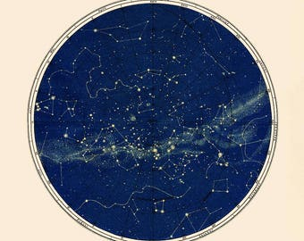 Constellation Map, Celestial Chart Print in Circular format in Blue, Gold Constellation, Round Constellation Map, Antique Astronomy Print