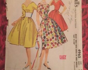 1950's Vintage Dress Sewing Pattern