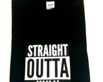 Straight Outta College Tee-Shirts, Black Straight Outta College T-Shirt, Black Custom College Shirts, College Graduation Shirts