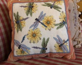 Whimsical spring dragonflies and Daisy needlepoint pillow