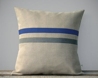 Striped Decorative Pillow Cover | Royal Blue and Grey Stripes by JillianReneDecor (16x16) Fall Home Decor - Sapphire Blue FW2015