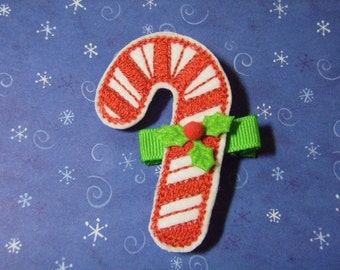 Candy Cane Felt Hair Clip Clippie - For Infant Toddler Girl
