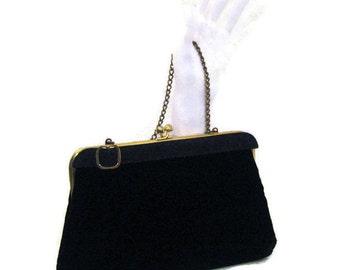 60s Velvet Purse, Black Velvet Purse, Black Evening Bag, Velvet Evening Bag, 1960s Evening Purse, Black Velvet Purse, Black Velvet Clutch