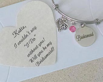 Gifts for Bridesmaids, Bridemaid Bracelet, Bridesmaid Proposal, Bridesmaid Ask, Bridemaid Thank You, Adult Size Adjustable 6.5 To 8 Inches